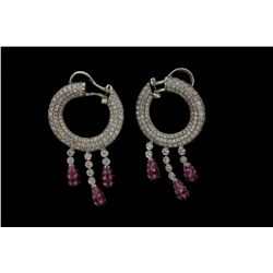 EARRINGS: [1 PAIR] 18kwg diamond and pink tourmaline earrings 1 1/2'' long hoop top, pave set with (
