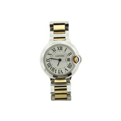 WATCH: [1] Ladies stainless steel and 18kyg Cartier Ballon Bleu wristwatch, 28mm case, white dial, b
