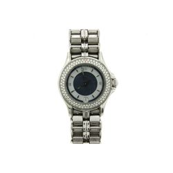 WATCH: [1] Ladies 18kwg and diamond Mauboussin wristwatch, 26mm case, pave set bezel with (104) rbc