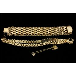 BRACELET: [1] 14kyg gate link bracelet 7 1/4'' x 1 1/8 woven design with rope chain edges. Safety ch