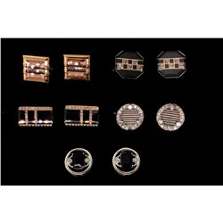 (1) PAIR CUFFLINKS: Pair of 18kwg and dia cufflinks, 17.mm round set with (24) rbc dias (6) princess
