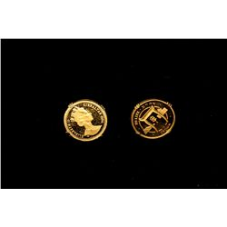 (1) PAIR CUFFLINKS: 18kyg cuff links with 1/10 oz. gold 10 crown Gibraltar coins 1996, L'Chaim T