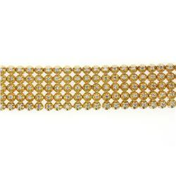 BRACELET:  [1] 10KYG bracelet set with 215 round diamonds, approx. 5.38 cttw., good/ I-J/ SI2-I1; 8'