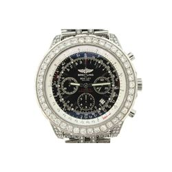 WATCH:  [1] Stainless steel gents Breitling for Bentley Chronograph Special Edition watch with a bla