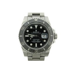WATCH: [1] Gents stainless steel Rolex Oyster Perpetual Submariner wristwatch, 40mm diameter. Black