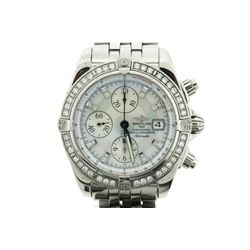 WATCH: [1] Gents St. Steel Breitling Chronomat Evolution watch; MOP face, 3 sub dials; 56 RB diamond