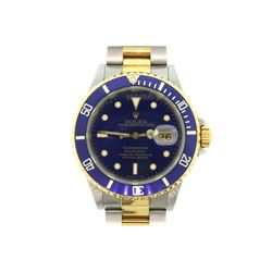 WATCH: [1] Gents St. Steel/18ky Rolex Submariner; blue face, date @ 3:00; Oyster bracelet (78363); M
