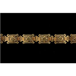 BRACELET: [1] Men's 14ky bracelet; 8 inches long, box clasp; four hundred ninety (490) bag diamonds;