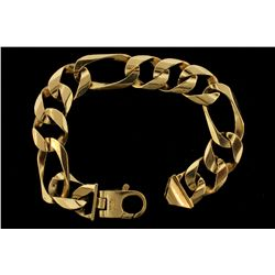 BRACELET: [1] Men's 10ky Figaro bracelet; 9.50 inches long, 17.24mm wide, lobster clasp; 83.0 grams.