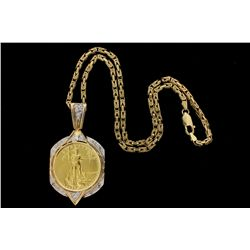 CHAIN: [1] Men's 14ky byzantine chain; 19 inches long, 3.40 wide, lobster clasp; 34.85 grams.  PENDA