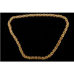 CHAIN: [1] Men's 14ky square byzantine chain; 20 inches long, 6.90mm wide, box clasp; 163.50 grams.