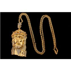 CHAIN: [1] Gents 10ky square byzantine chain, 32 inches long, 2.94mm wide, lobster clasp; 41.96 gram