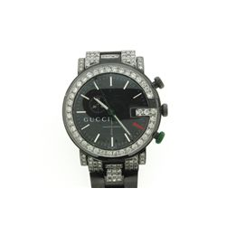 WATCH:  [1] Stainless steel with black finish gents Gucci Chrono watch set with aftermarket diamonds