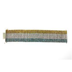 BRACELET: [1] Men's 10kw bracelet; (240) round irradiated blue diamonds; 2.6mm= est. 15.40cttw; Good