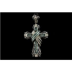 PENDANT: [1] Men's 14kw cross pendant; (80) rb diamonds; 1.1mm to 1.2mm =est. 0.65cttw; Good/I-J/SI2