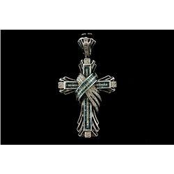 PENDANT: [1] Men's 14kw cross pendant; (80) rb diamonds; 1.1mm to 1.2mm =est. 0.65cttw; Good/I-J/SI2