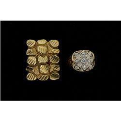 RING: [1] Gents 14ky/w ring; nine (9) rb diamonds; 2.5mm- 3.7mm =est. 0.70cttw; Good/J Range/ SI2-I1