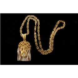 CHAIN: [1] Gents 10ky square byzantine chain; 22 inches long, 4.71mm wide, lobster clasp; 74.37 gram