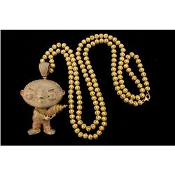 CHAIN: [1] Men's 10ky fluted bead chain; 40 inches long, 6.81mm wide, lobster clasp; 74.8 grams.  PE