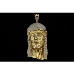 PENDANT: [1] Men's 10ky Jesus pendant; six hundred seventy two (672) rb diamonds; 0.80mm to 1.2mm =e