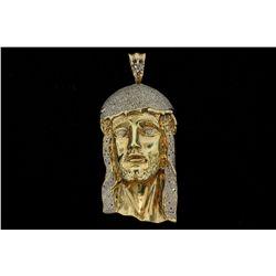 PENDANT: [1] Men's 10ky Jesus pendant; six hundred seventy two (672) rb diamonds; 0.80mm to 1.2mm =e