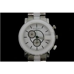 WATCH:  [1] Stainless steel and white ceramic unisex Gucci Chronograph quartz watch with a whitle di