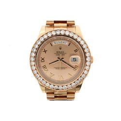 WATCH: [1] Gents 18krg Rolex Day-Date II wristwatch case is 42mm with custom dia bezel set with (40)