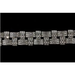 BRACELET:  [1] Platinum bracelet set with 447 princess cut diamonds, approx. 31.29 cttw., V. good -