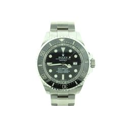 ROLEX: [1] Mens st.steel Rolex Deep Sea Dweller watch; black dial, lumens markers, black enamel beze