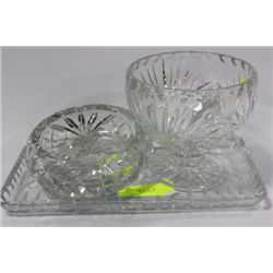 CRYSTAL BOWL/TRAY AND ASHTRAY