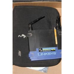 BOX WITH WIRELESS ROUTER, TABLET KEYBOARD, AND DVD