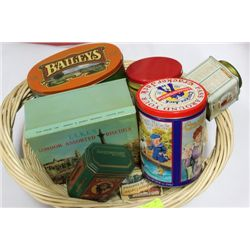 BASKET W/ COLLECTIBLE TINS