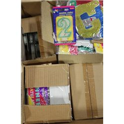 BOX OF PARTY CANDLES & CONGRATULATIONS BANNERS