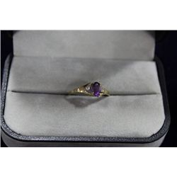 10 KT GOLD AMETHYST AND DIAMOND RING