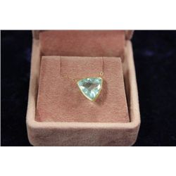 14 KT GOLD AQUAMARINE PENDANT NECKLACE