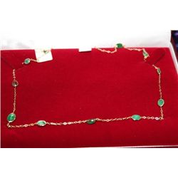 14 KT GOLD EMERALD (5.10CT) NECKLACE
