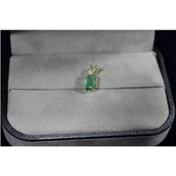 10 KT GOLD EMERALD (0.65CT) AND DIAMOND PENDANT