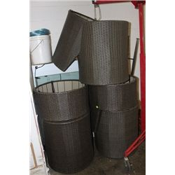 RATTAN STYLE NESTING PATIO CHAIRS X6