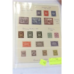 SHEET OF MINT GERMAN STAMPS