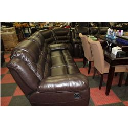 NEW CHOCOLATE BROWN LEATHER RECLINING 3PC