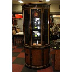 VINTAGE CURVED GLASS CURIO CABINET