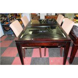 NEW SHOWHOME STYLE GLASSTOP TABLE W 4 FABRIC