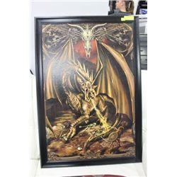 "GOLDEN DRAGON FRAMED PICTURE 28"" X 40"""