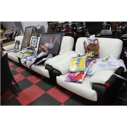 WHITE AND BLACK LEATHERETTE SOFA/LOVE SEAT AND
