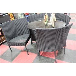 GLASSTOP RATTAN STYLE PATIO TABLE W 4 CHAIRS
