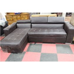 BROWN LEATHERETTE L SHAPED SECTIONAL