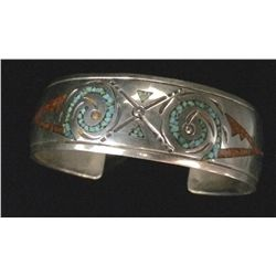 Sterling and Chip Inlay Cuff Bracelet