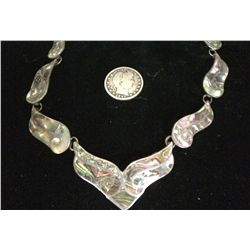 Sterling and Abalone Shell Vintage Necklace