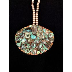 Turquoise on Shell Necklace