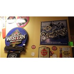 Brewhouse metal sign & Great Western plastic wall plaque